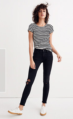 "9"" High Rise Skinny Jeans in Black Sea"
