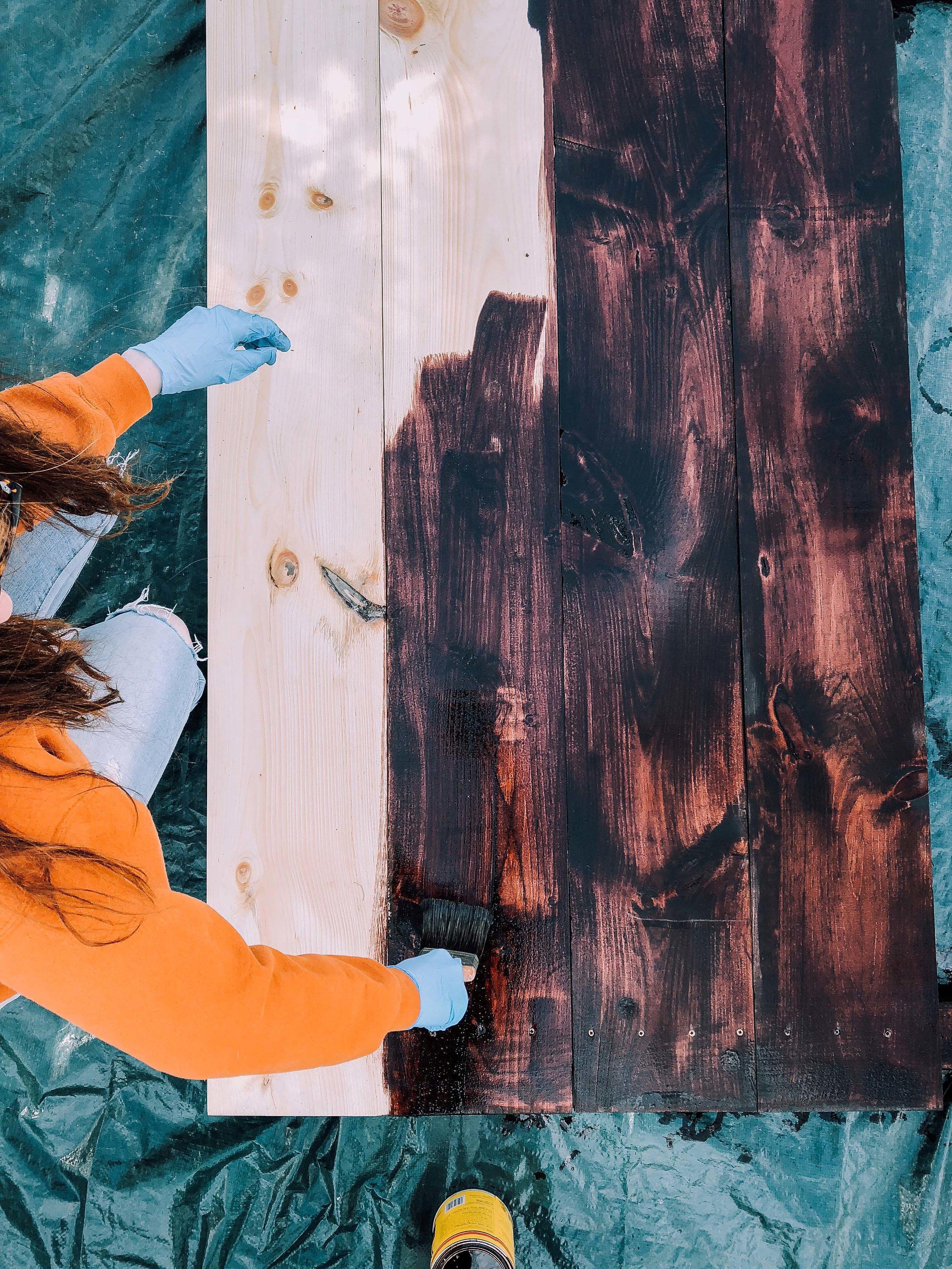 DIY Headboard, Lifestyle Blog, Wood Stain