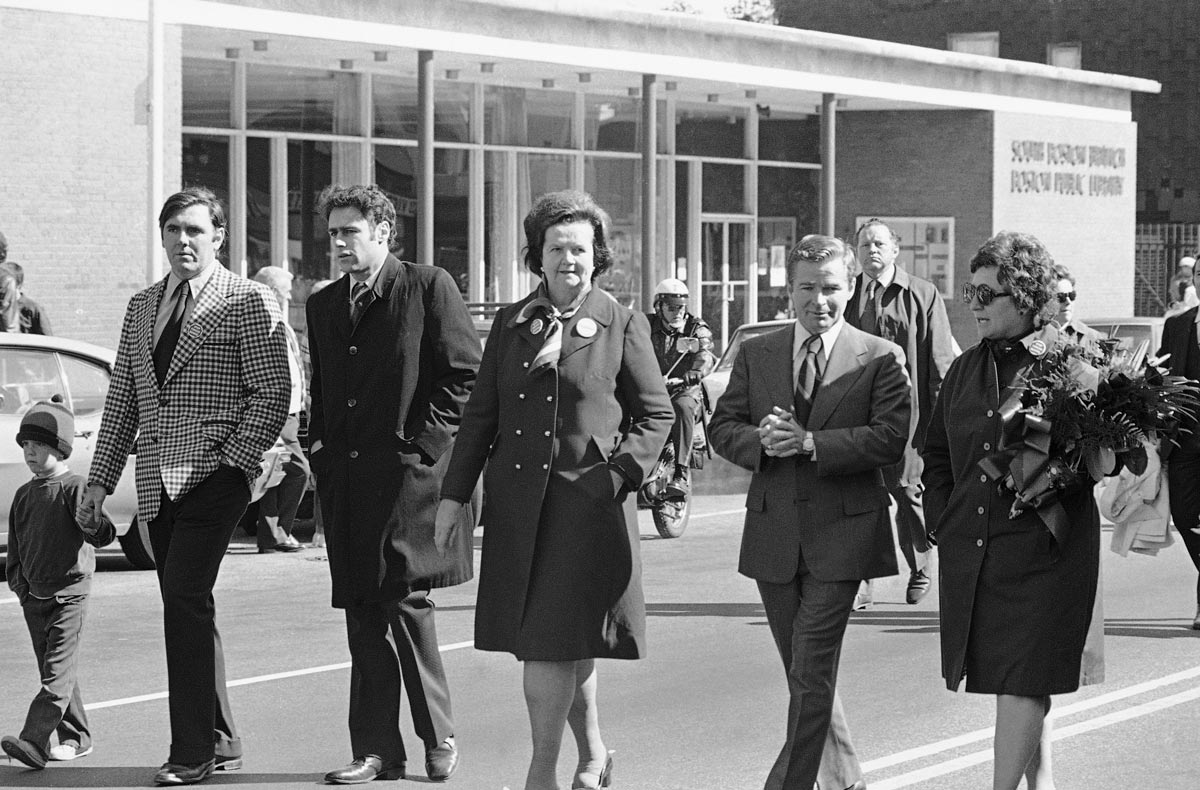 """Then-state Rep. and future Boston Mayor Ray Flynn, radio host Avi Nelson, city councilor Louise Day Hicks, and then-state Sen. and future longtime Senate President William Bulger, brother of James """"Whitey"""" Bulger, march in an antibusing demonstration on Broadway in South Boston in 1974.     AP Photo/J. Walter Green"""