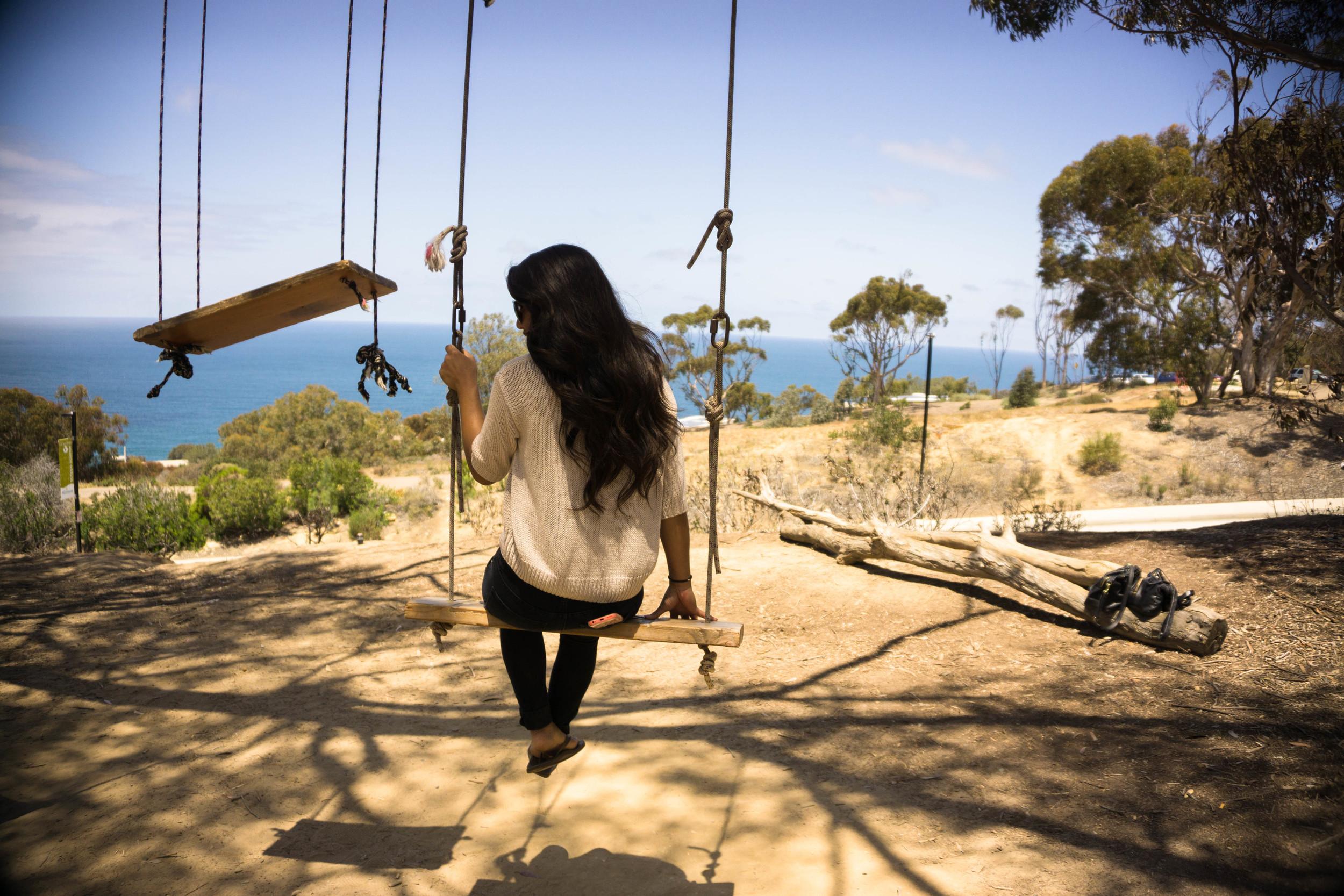 Vanessa on the La Jolla Tree Swings