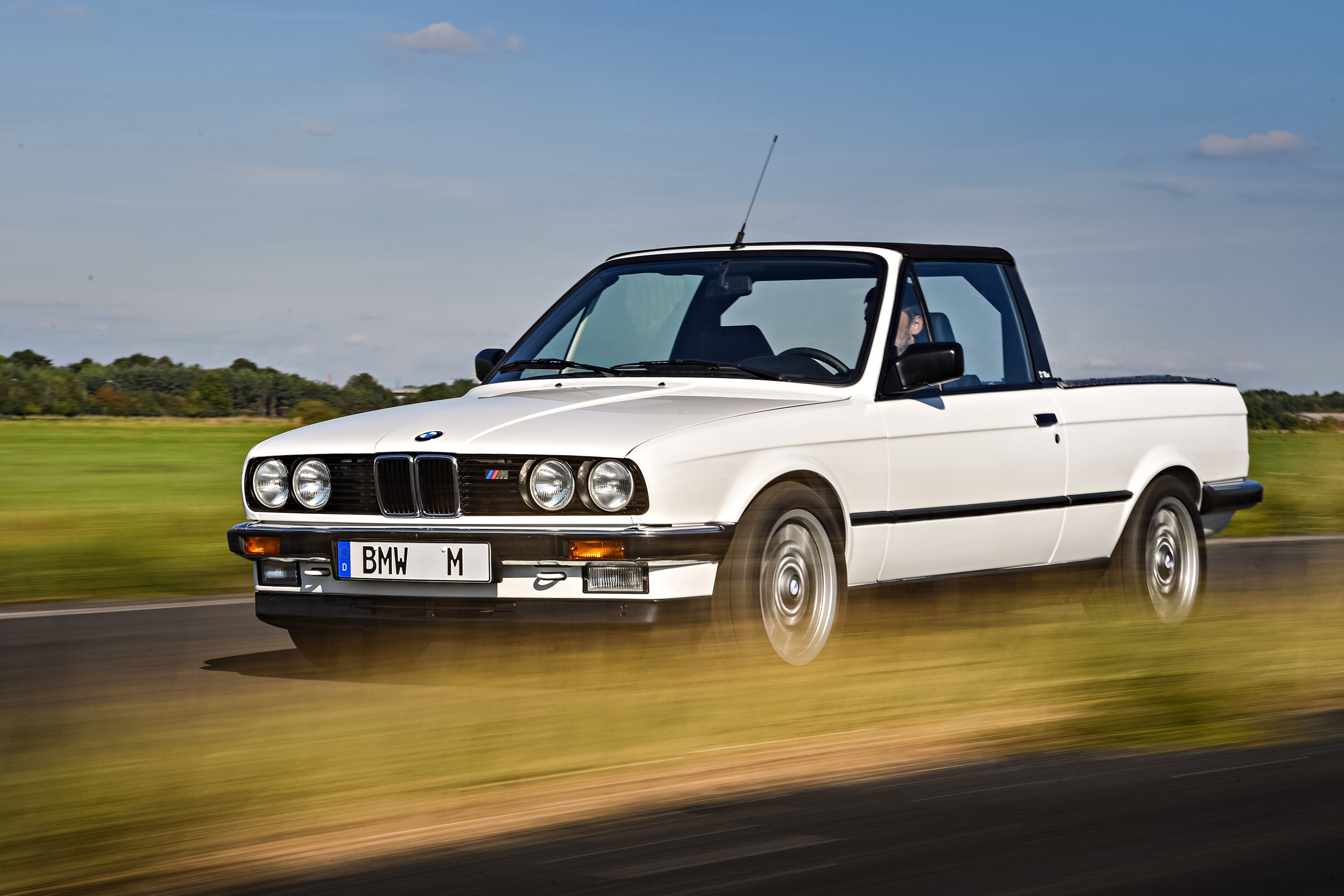 The E30-based M3 pickup was based on the 3 Series Convertible but was not fitted with the flared plastic fenders. It stayed in service for an incredible 26 years