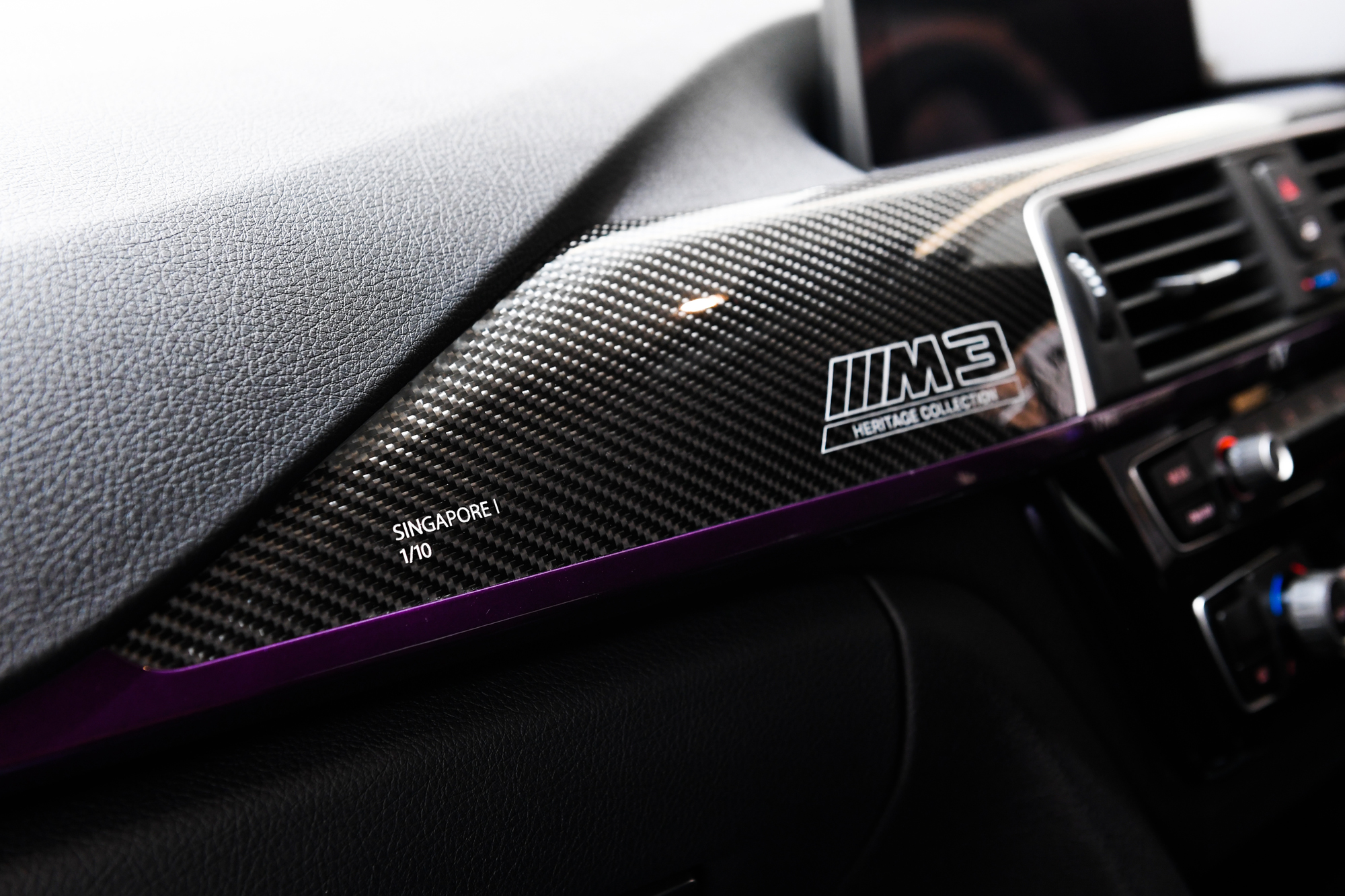 Each of the 10 units of the BMW M3 Heritage Collection Singapore Edition I will feature a carbon fibre dashboard panel with a laser-engraved logo and serial number