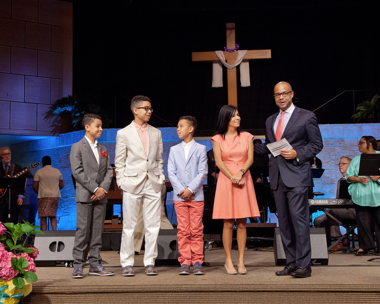 Pastor Bryan Loritts introduces family–Myles, Quentin, Jaden, and wife Korie (L to R) along with all Easter Sunday 2016 first-time guests  To see more Easter Sunday 2016 photos, visit  Facebook.com/ALCF