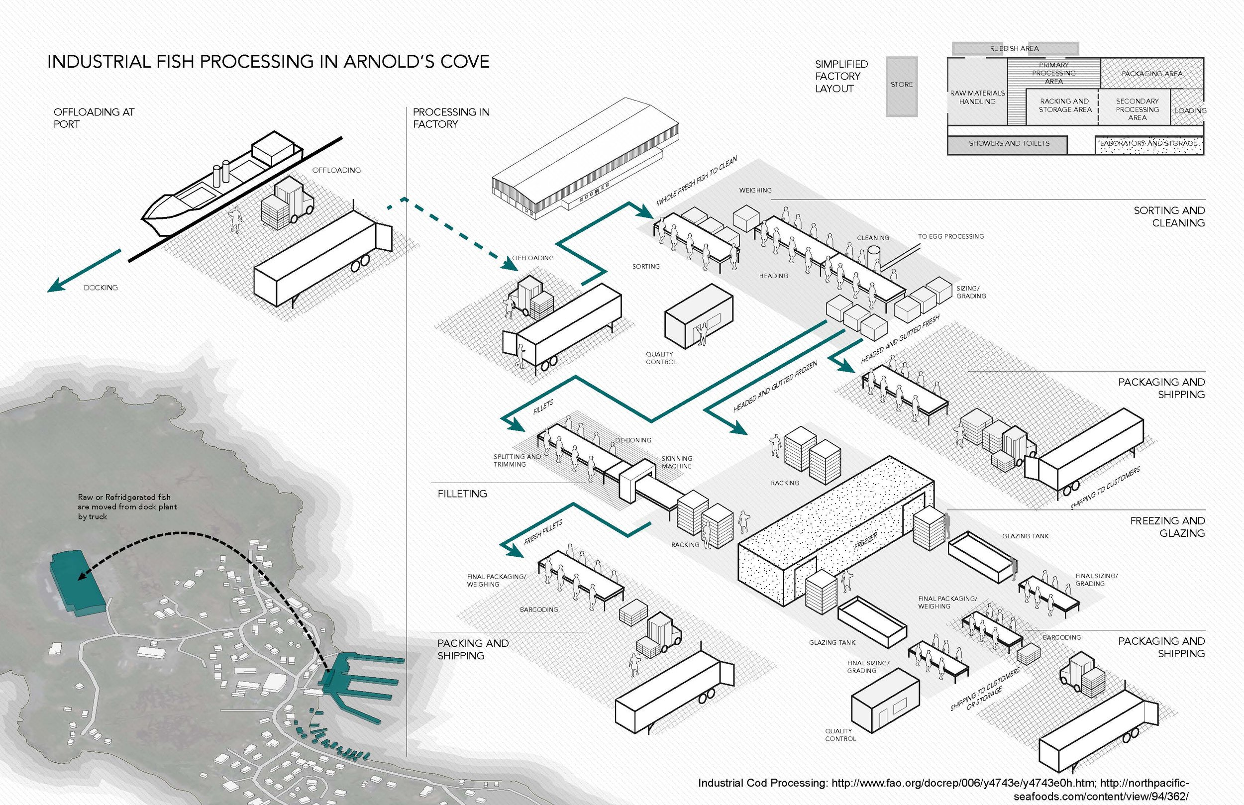 Diagram of fish processing in a typical industrial warehouse.