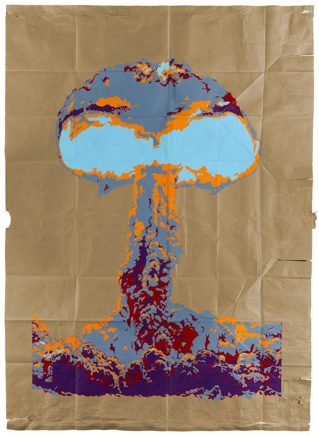 Chris Crites, Hood- 1957- 74 Kilotons, Acrylic on paper bag