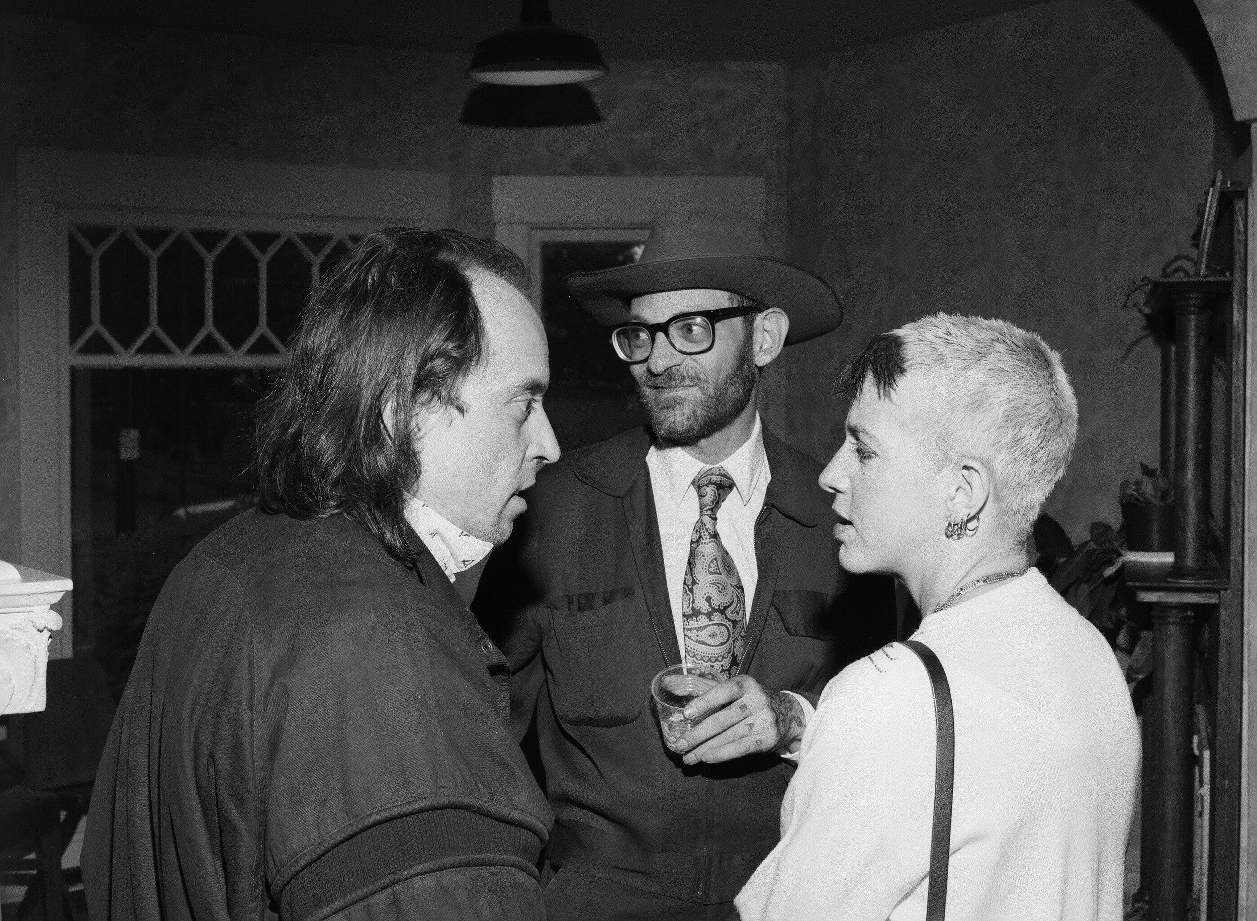 Larry Reid, Jesse Bernstein and Kathy Acker  (L to R) during Acker's COCA residency, 1989.  Photo: Larry Reid