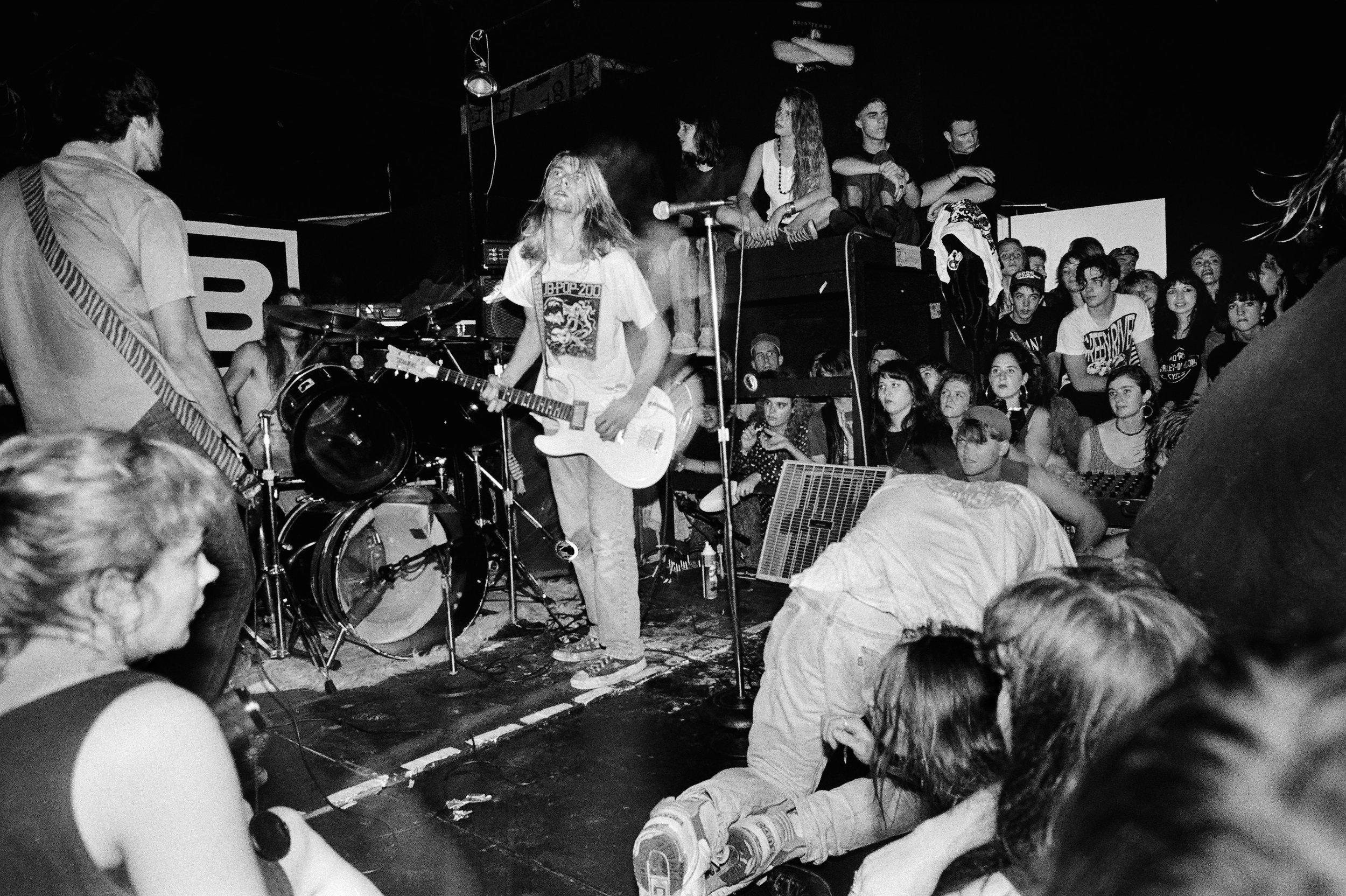 Nirvana performing at CoCA, 1989. Photo: Larry Reid