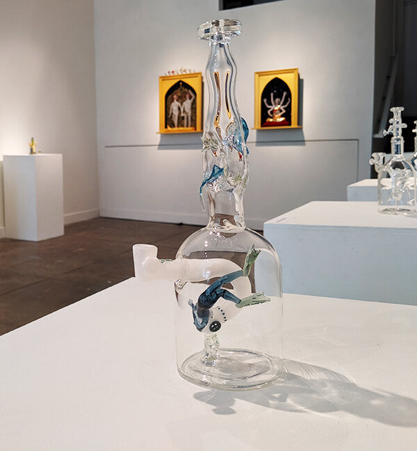 A peek at the show, featuring Amber Pelligrini's art in the foreground