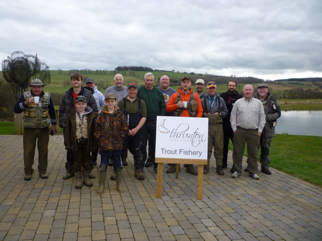Some of the 21 anglers who took part in the Troutmasters fish off at Thrunton