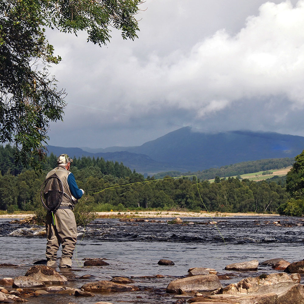 Fishing the River Tummel near Ballinluig, Perthshire for trout