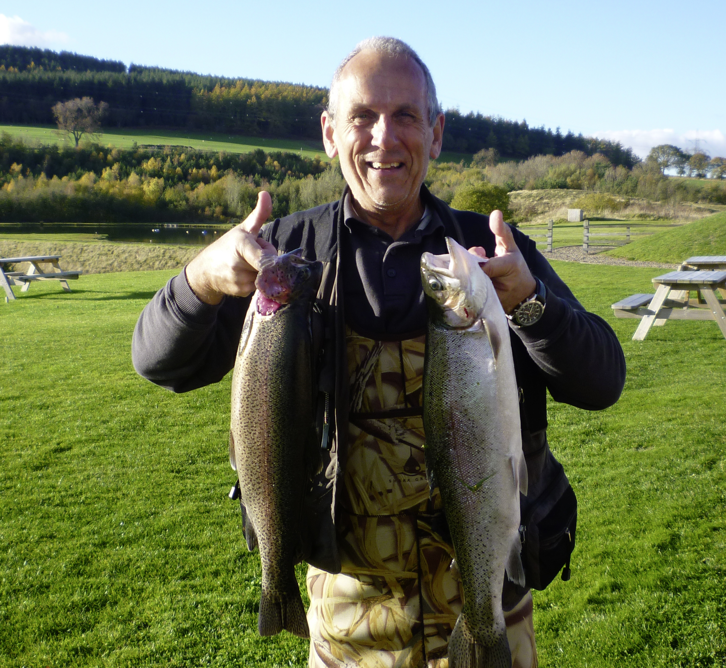 Ian Patrick from Ellington with a 5.4lb and a 3.15lb Rainbow from Long Crag lake at Thrunton fishery, caught using a Yellow Dancer.