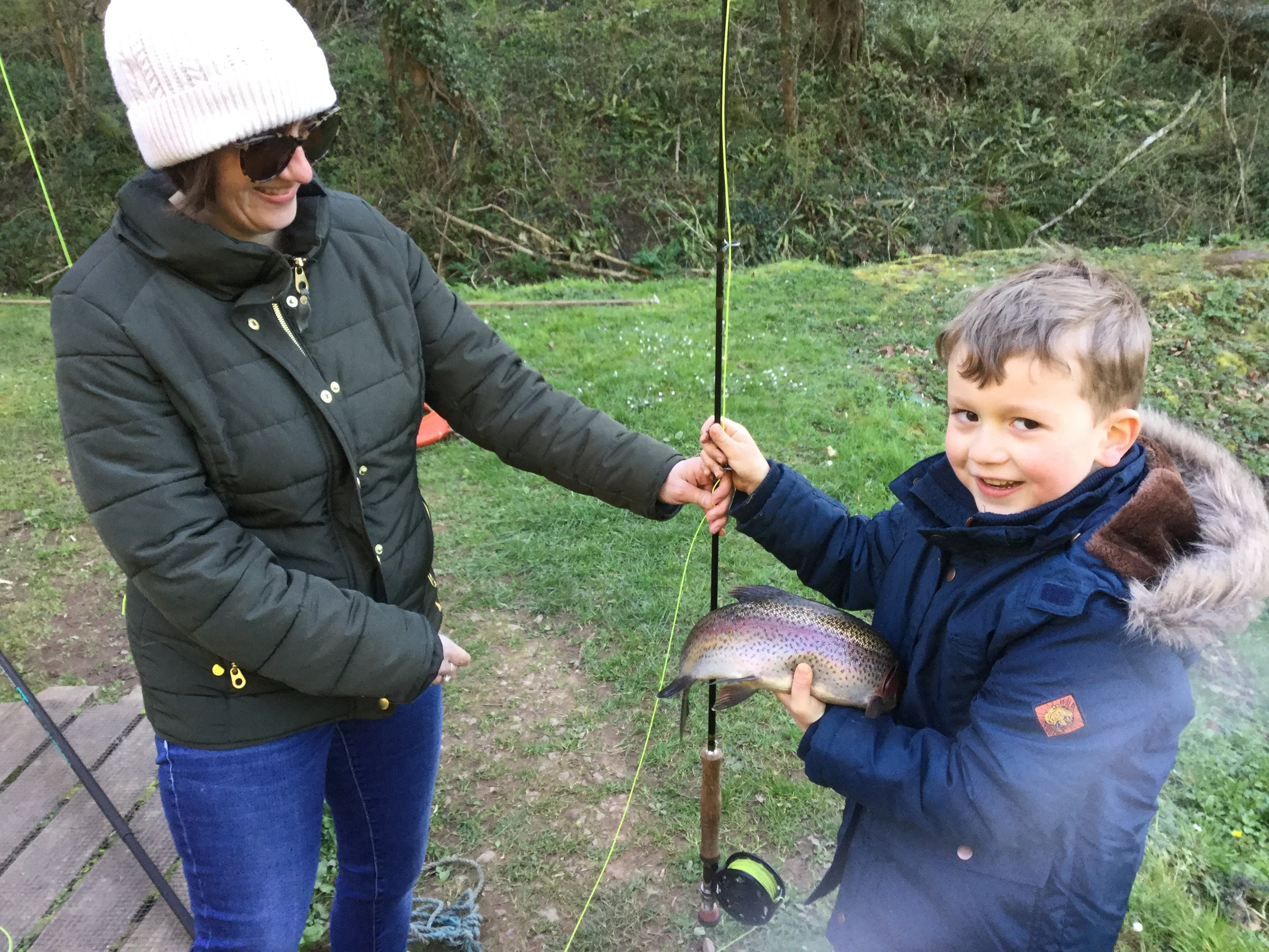 Edward Collier-Webb (5) and mum Sharon, with his first catch, taken on a Damsel at Bigwell fishery.