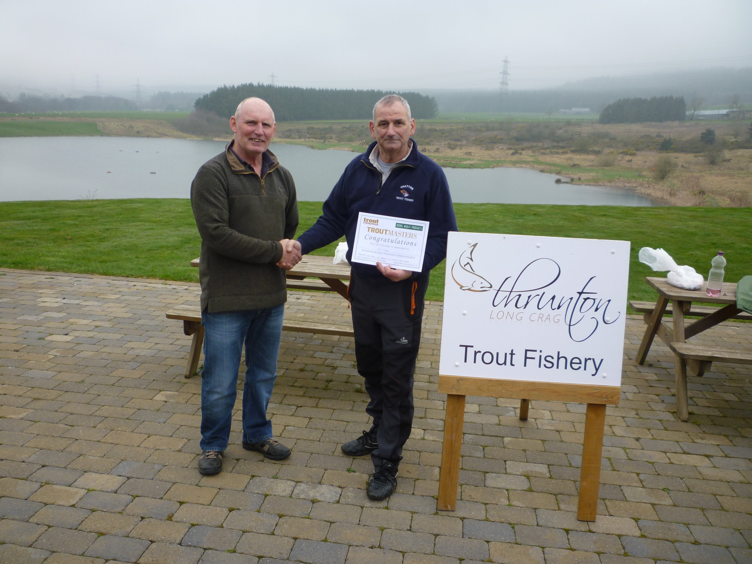 Jim Tuck (right), winner of the Troutmasters fish-off for Chatton which took place at Thrunton.