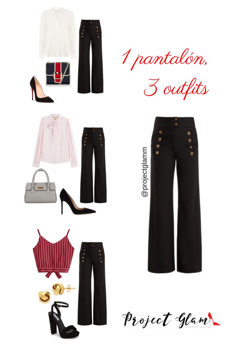 """Este pantalón en negro lo puedes combinar con colores """"navy"""": azul oscuro, dorado, blanco. Y también con tonos rosa claro."""