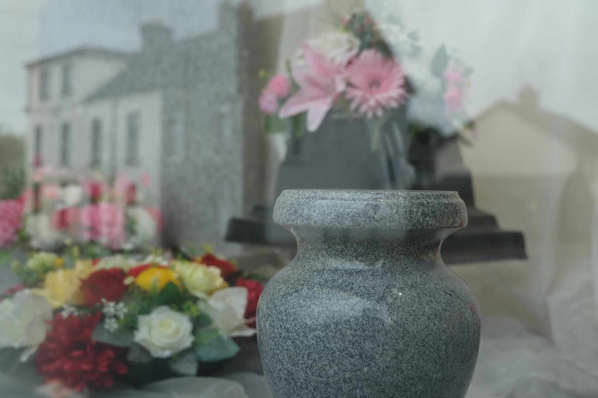 Urns and floral arrangements