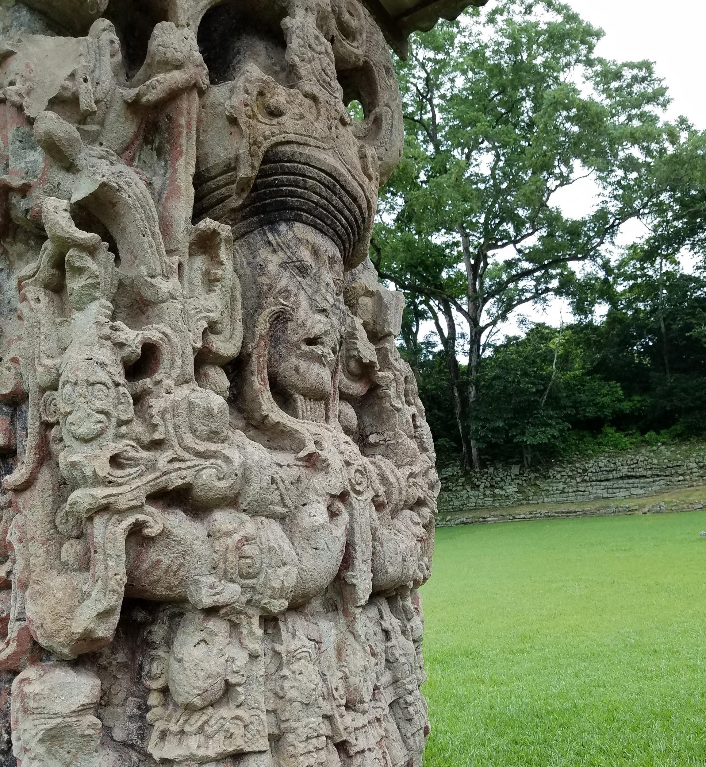 Carved stelae at Copán Ruins