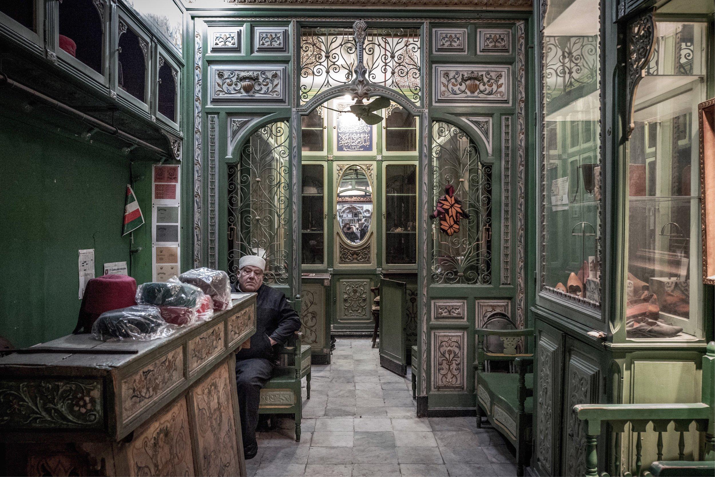 Beautiful historic shop interior in Medina de Tunis.