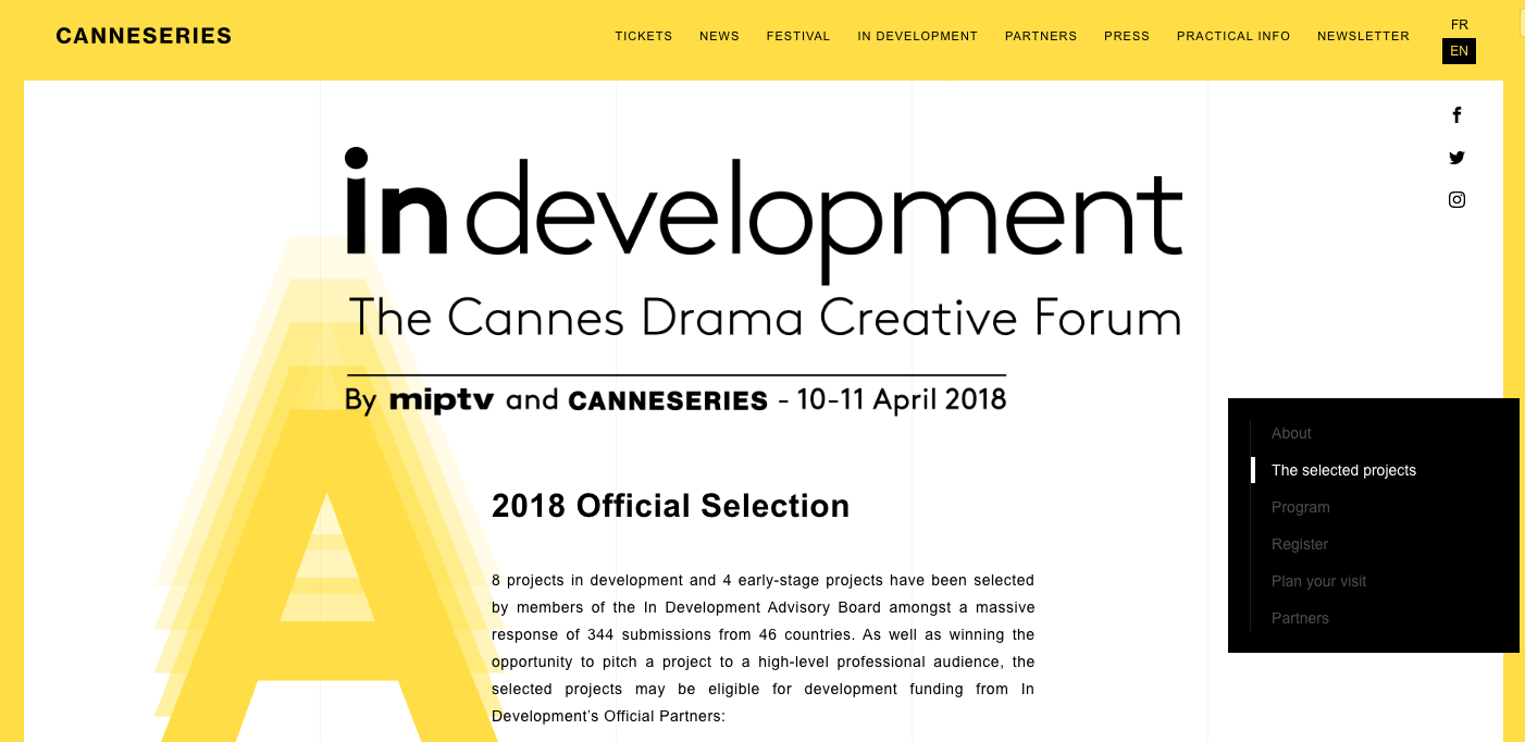 CANNESERIES Official Selection 2018 - http://canneseries.com/en/indevelopment/submit/