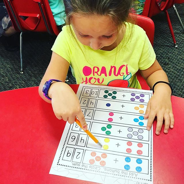 Fun with preschool math. Add the buttons, circle the sum. #lovetolearn