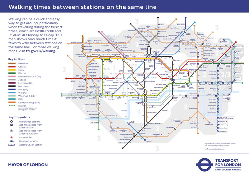 The original Transport for London Walking Tube Map