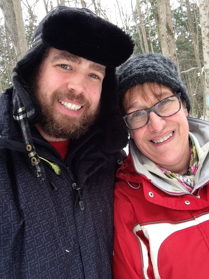 Susan with her son Matthew on one of their weekly snowshoeing adventures.