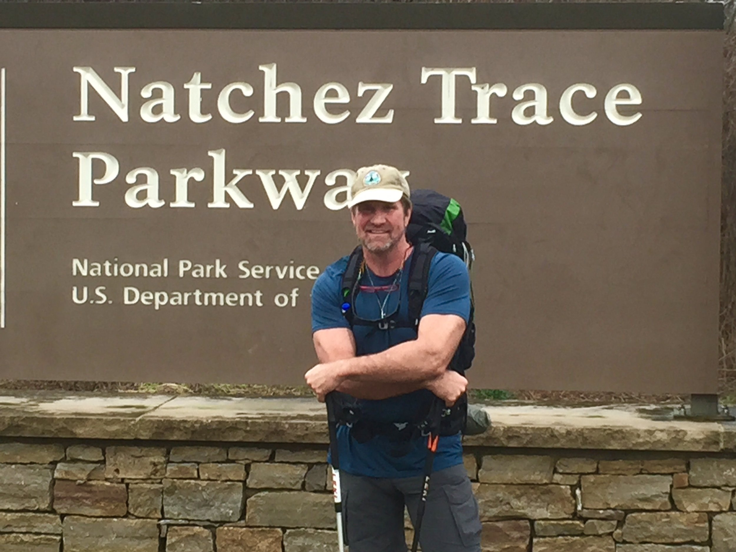 Bill Wasser at the Southern Terminus of Natchez Trace Parkway