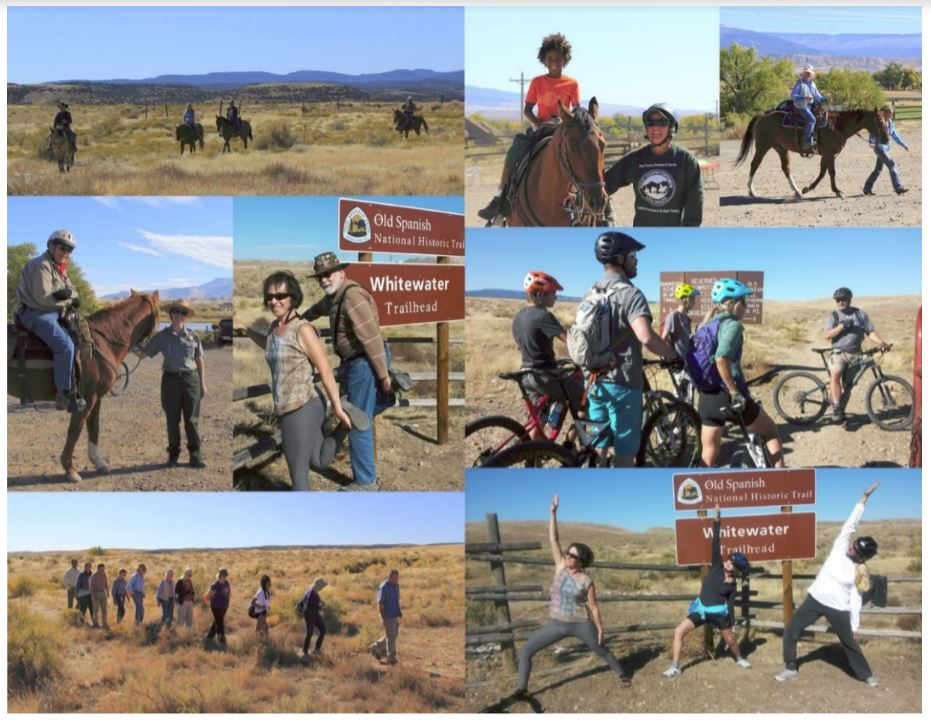 Above: Some of the event's participants and the activities they engaged in along the Old Spanish National Historic Trail in Grand Junction, Colorado