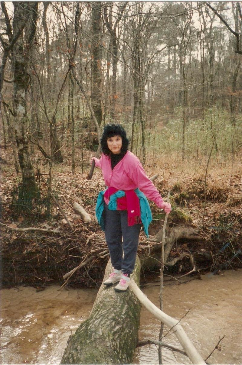 Cathy Troy crossing Bullen Creek on a fallen log, January 1993