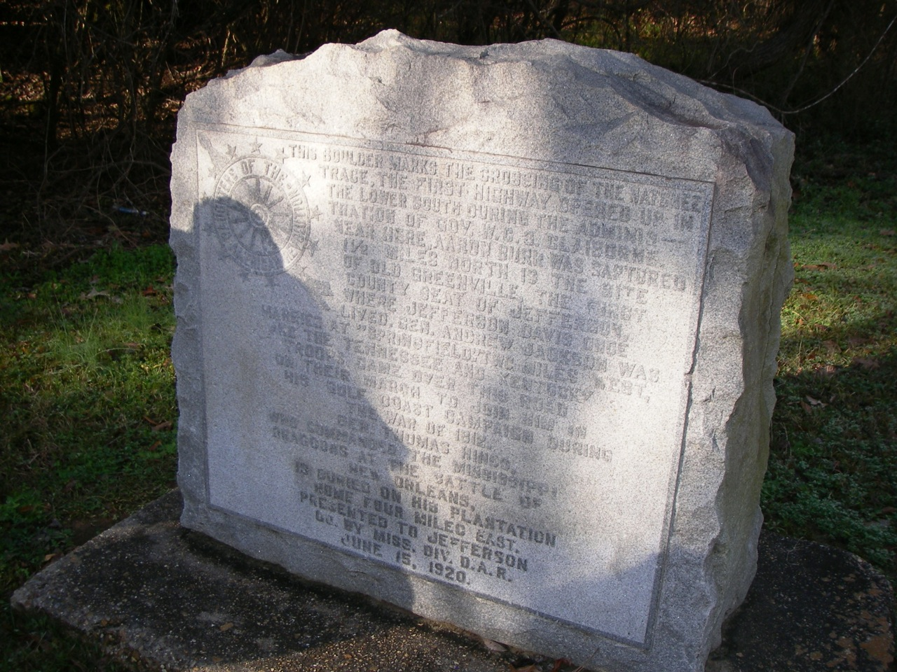 Monument commemorating the location of the original Natchez Trace Trail (Potkopinu). It is located alongside Highway 553 close to the north trailhead. It was installed by the Daughters of the American Revolution (DAR) on June 15, 1920.