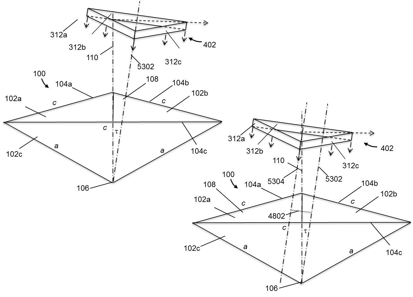 Figure 2. Non-vertical Truncation without and with an Offset from the Symmetrical Axis