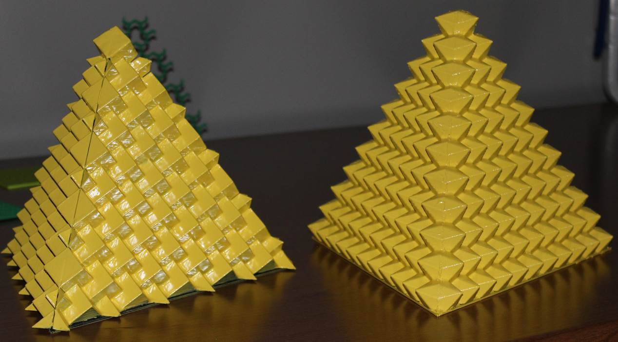Figure 2. Triangular pyramid-shaped hazard marking buoy prototypes.