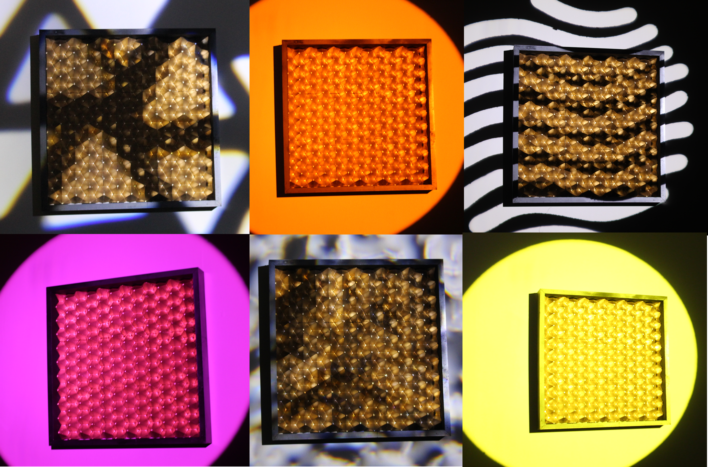 Figure 7.   Theatrical lighting shining on a wall and 3D architectural tiles