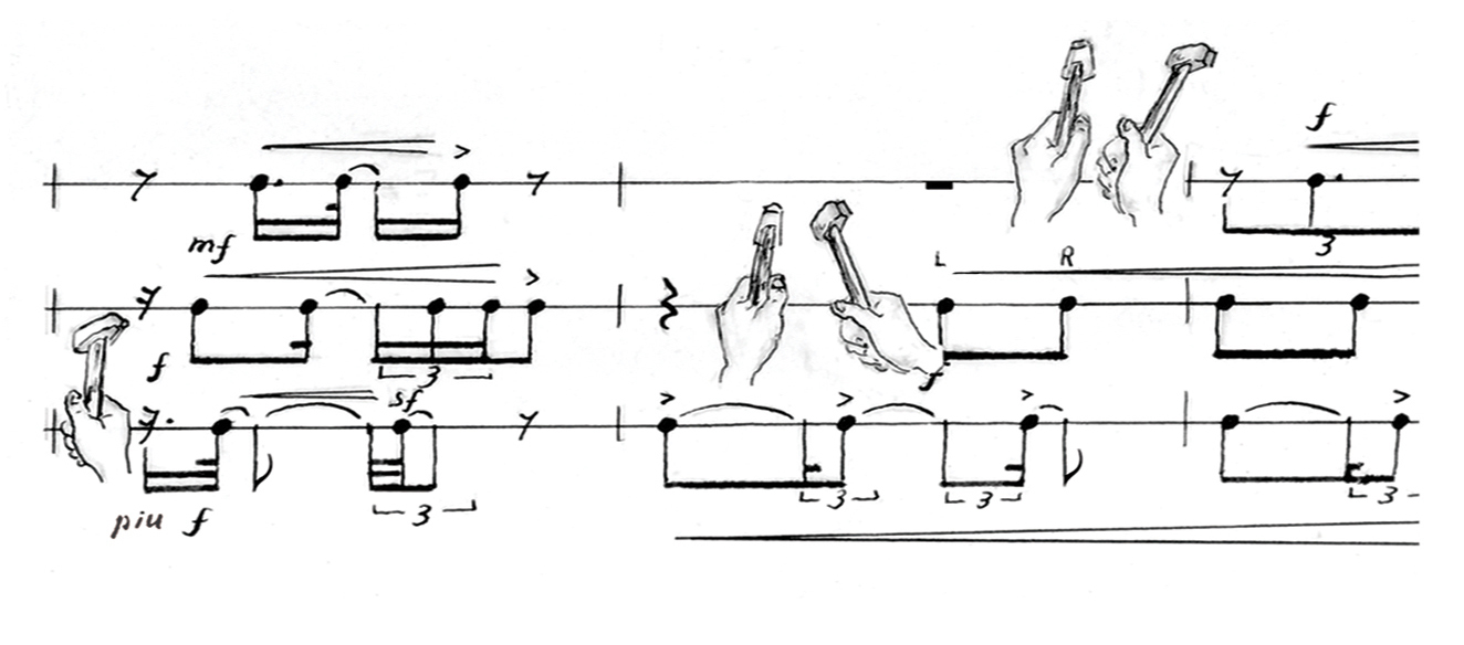 """Back stage hammering toward the end of """"The Musical Seminar"""" (Drawing in the score by the Composer)"""