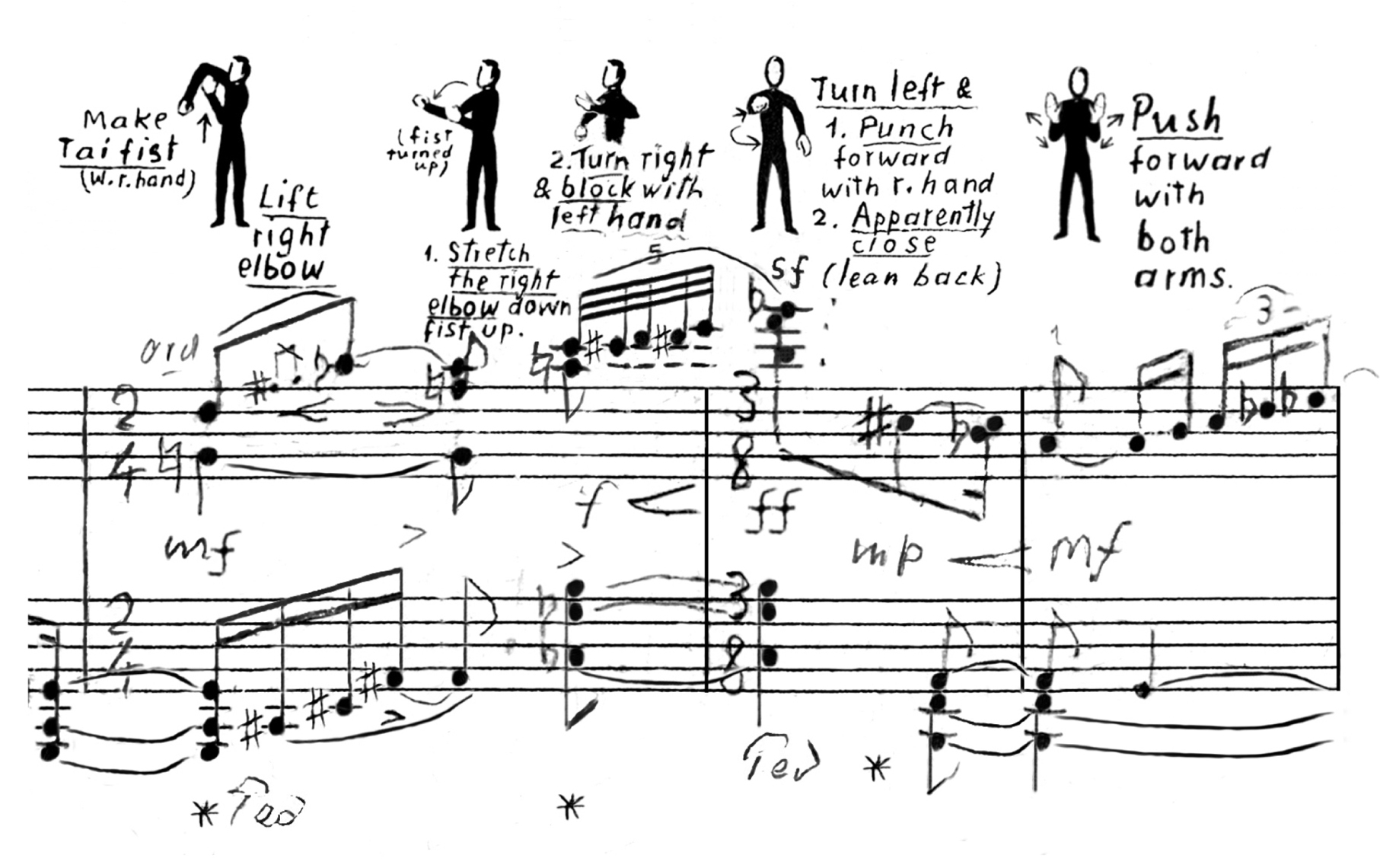 """From """"Tai Chi on the Hudson"""" for string quartet and animation (Piano reduction with composer's drawings)"""