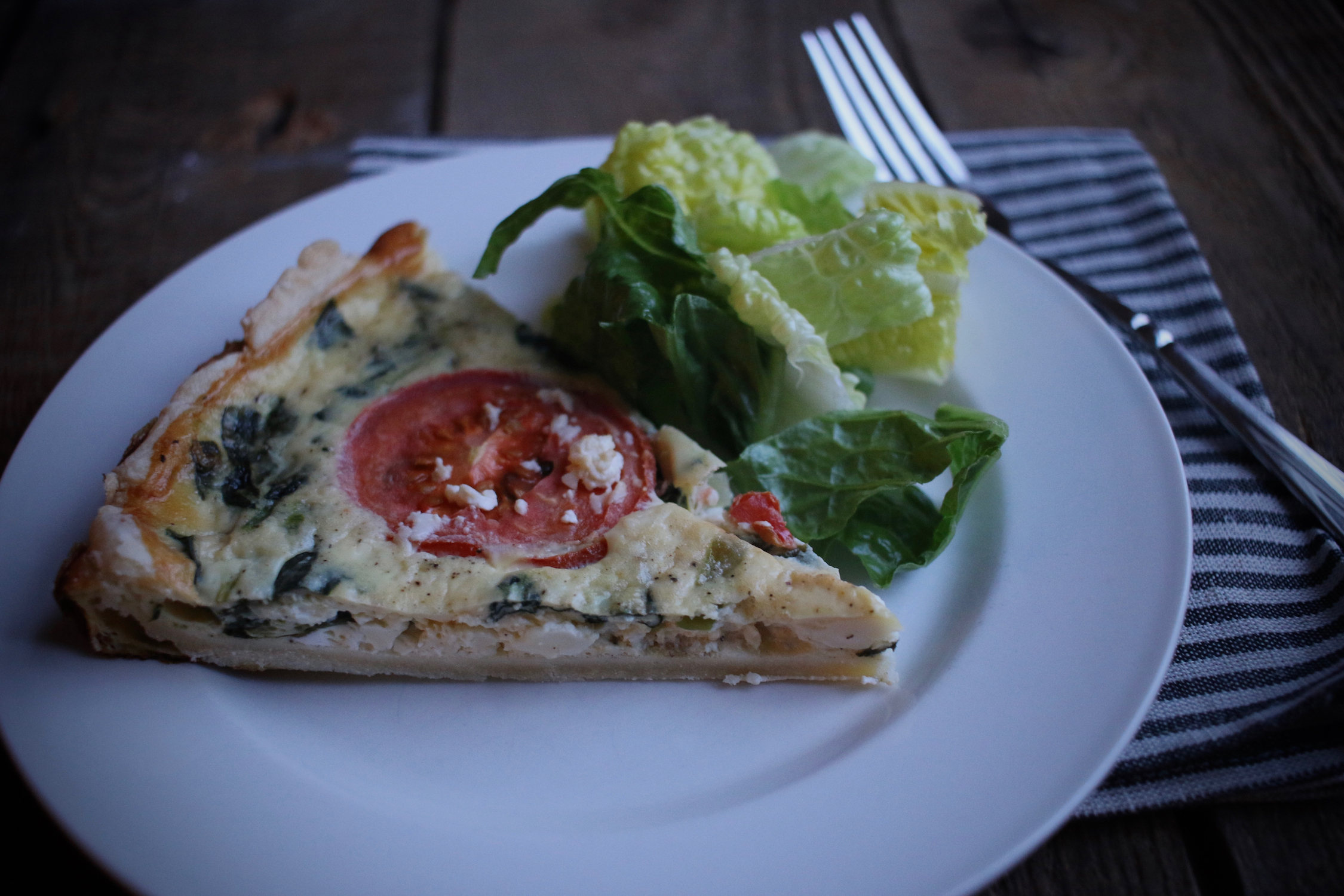 Spinach and Feta Cheese Quiche with Salad | Linden & Lavender
