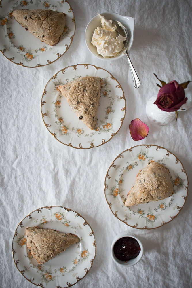Currant Flaxseed Scones with Jam & Clotted Cream | Linden & Lavender