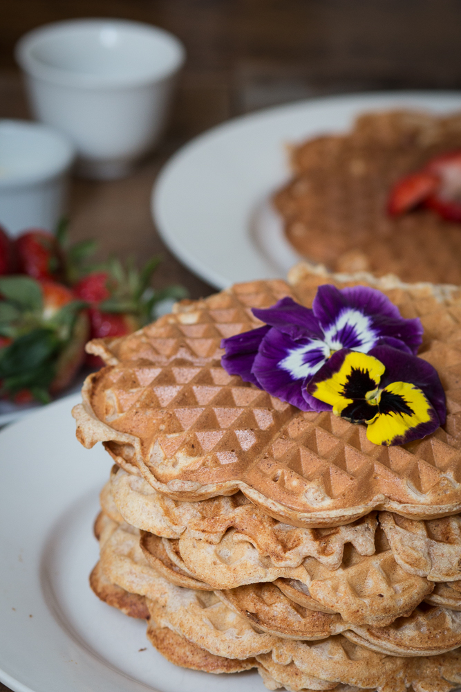 Lemon and Ricotta Waffles with Pansies | Linden & Lavender