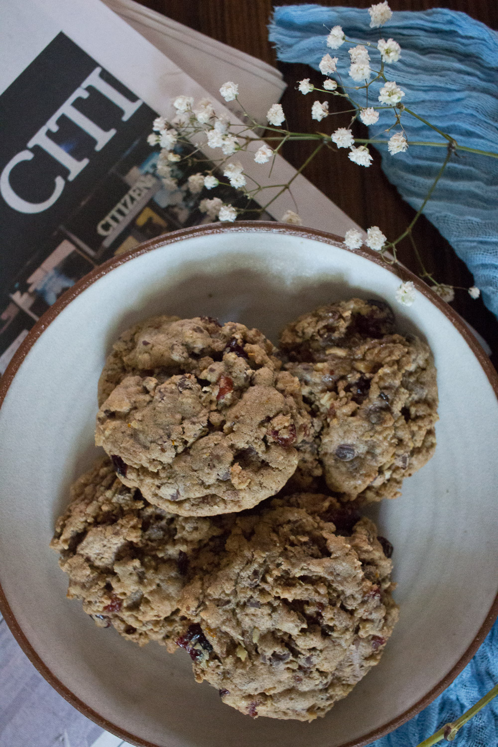 oatmeal, chocolate, cranberry and pecan cookies