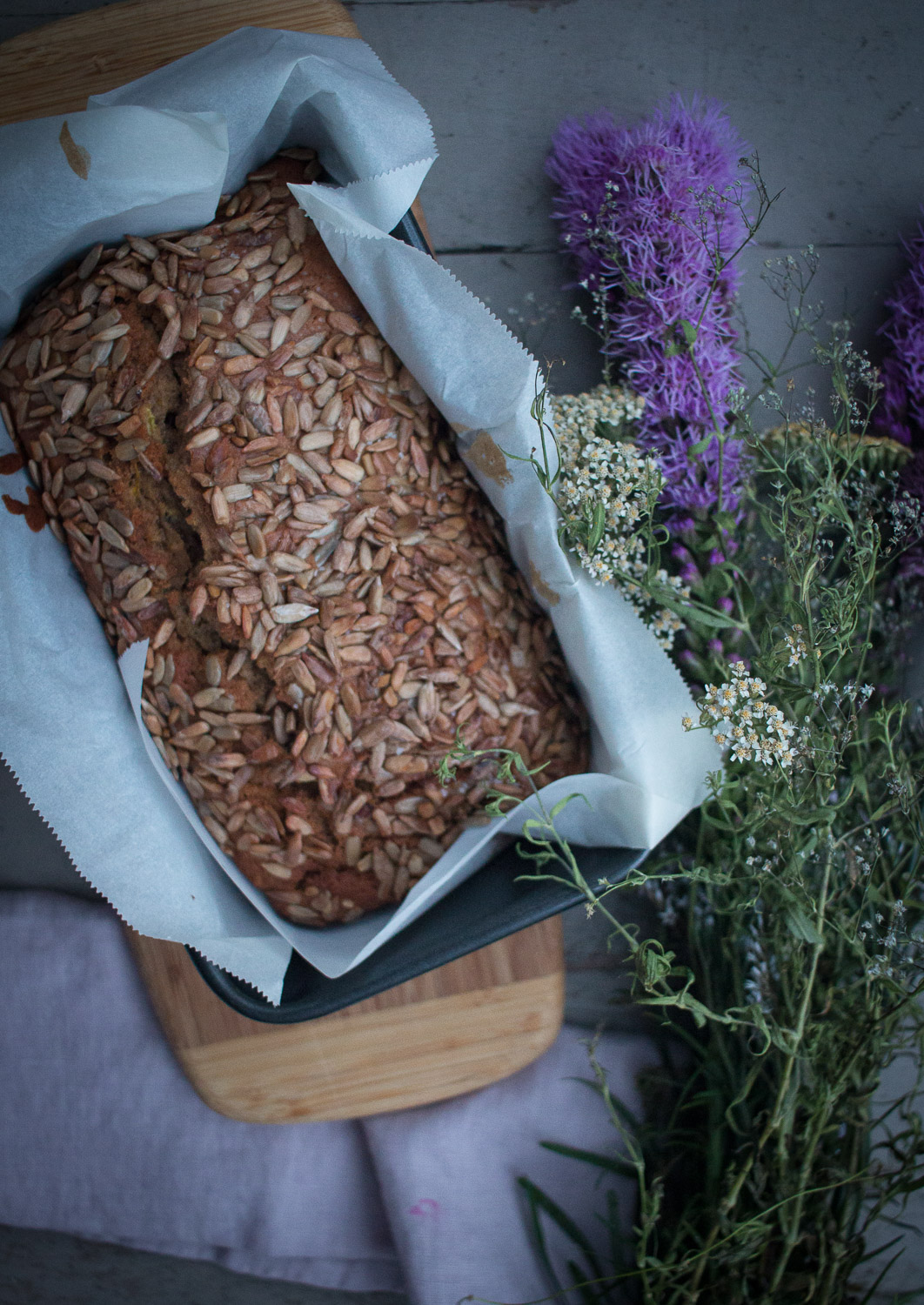 zucchini spice bread with sunflower seeds