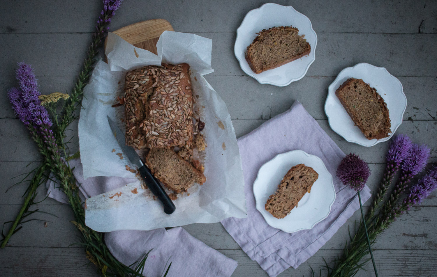 zucchini bread with toasted sunflower seeds