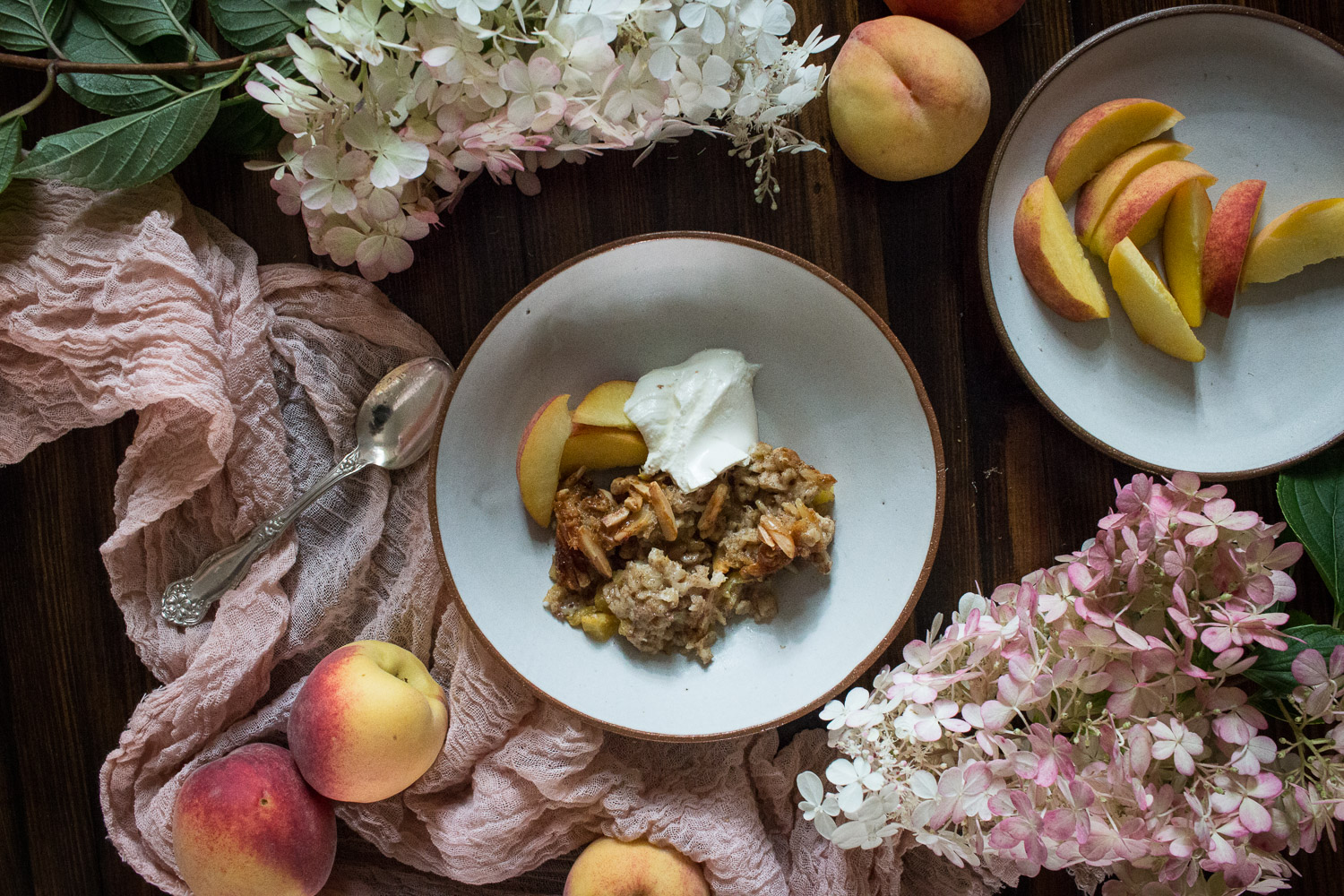 overnight peach and almond baked oatmeal