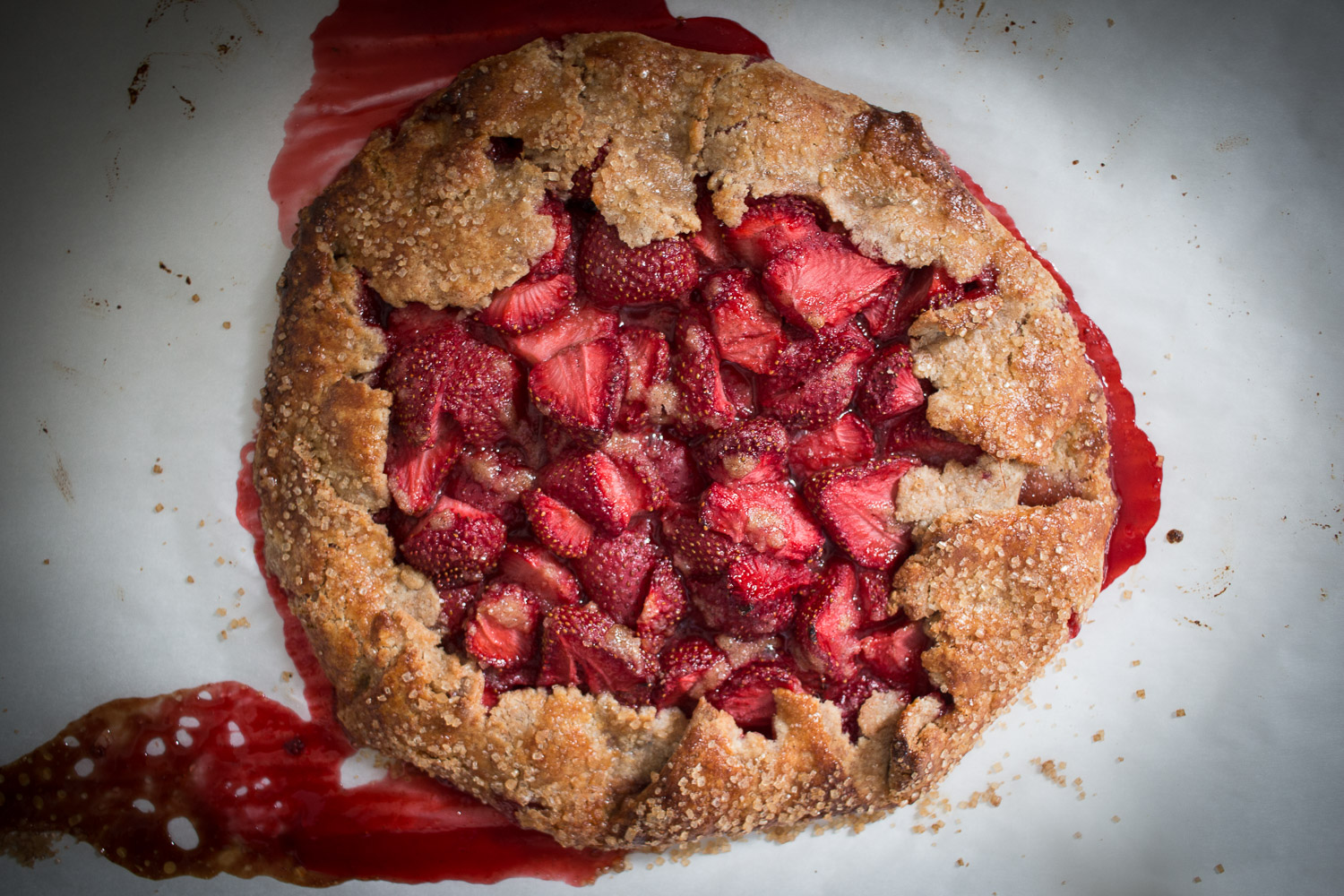 strawberry galette with butter spelt crust