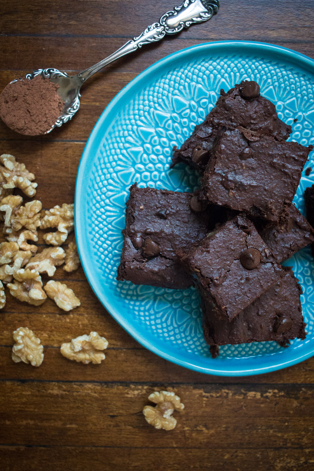 Navy bean brownies with walnuts