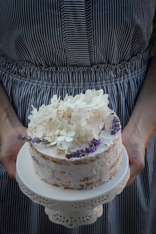 funfetti cake with swiss meringue strawberry buttercream