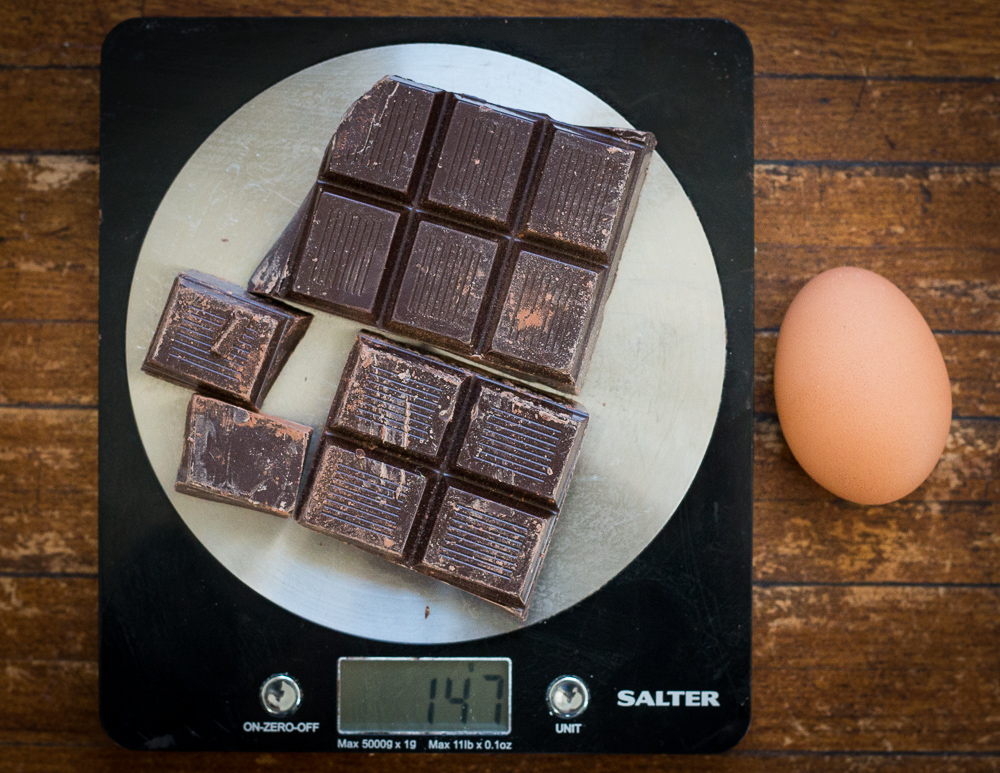 Approximately 160g of chopped chocolate compared to a large egg.
