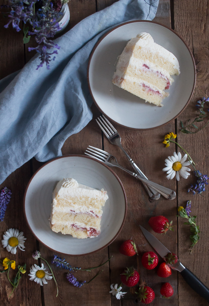 Strawberry Filled Vanilla Cake with Mascarpone Icing