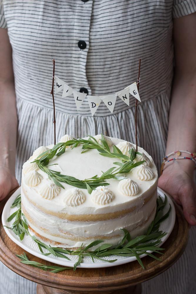 Strawberry Filled Vanilla Cake with Mascarpone Icing