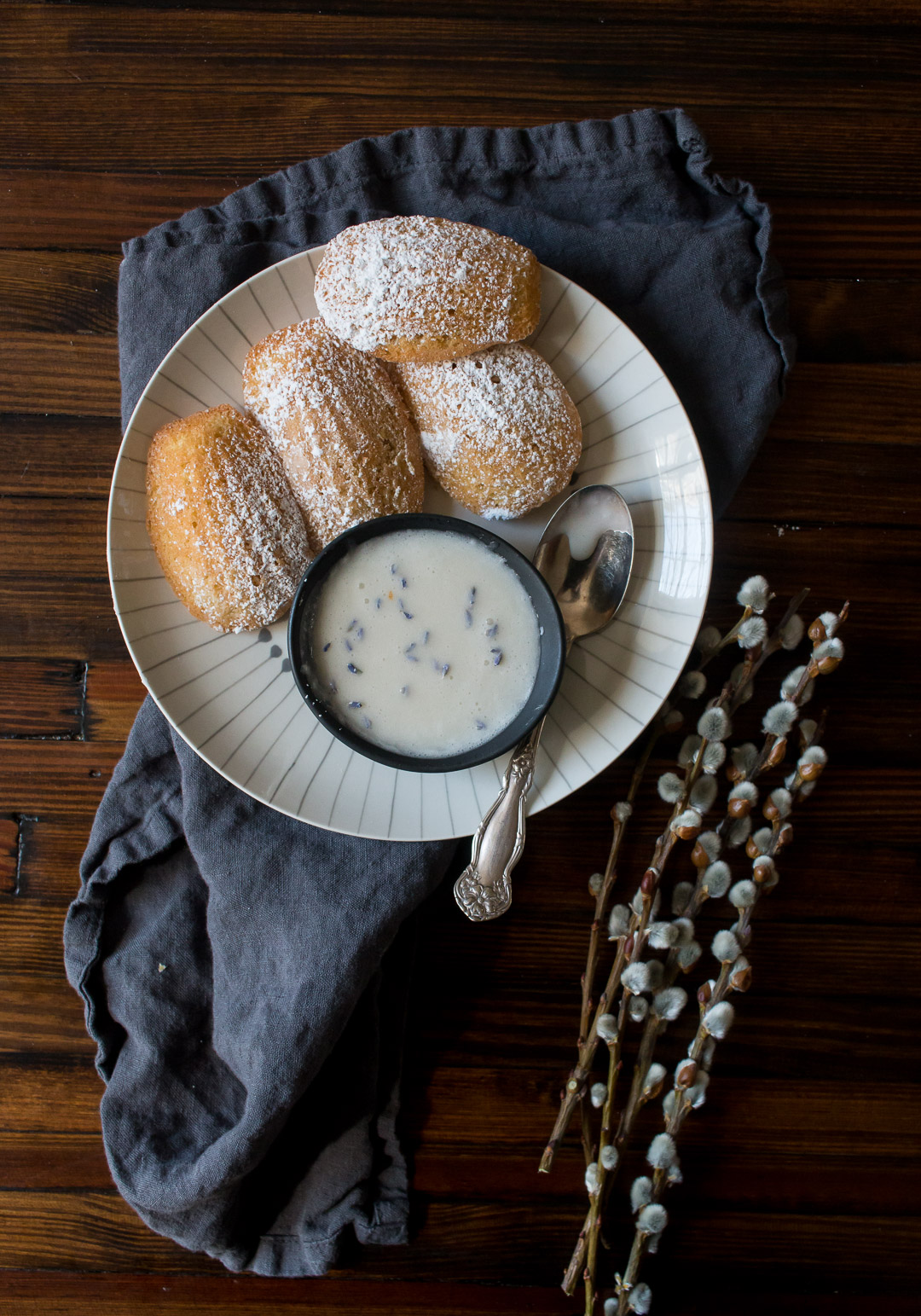 Lemon Spelt Flour Madeleines with Warm Lavender Glaze