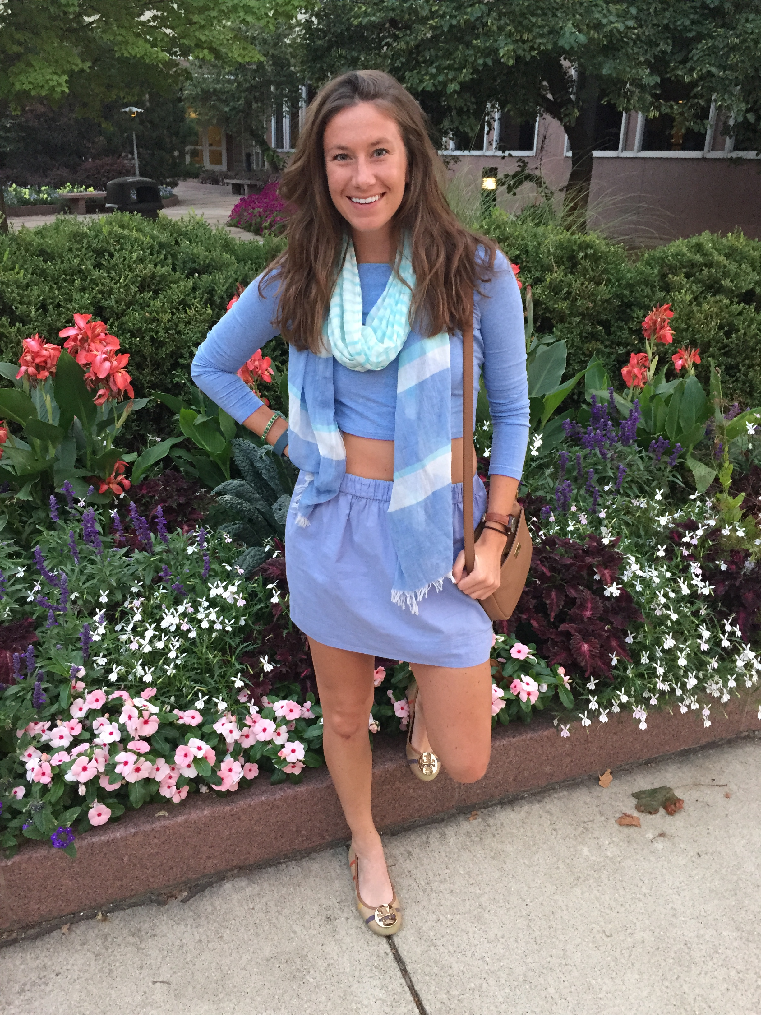 The outfit could be good for a breezy summer night. Shoes: Tory Burch, similar  here . Skirt: J.Crew, similar  here  at J.Crew Factory. Top: H&M, similar  here . Scarf: American Eagle, similar  here . Purse: J.Crew Factory, similar  here .