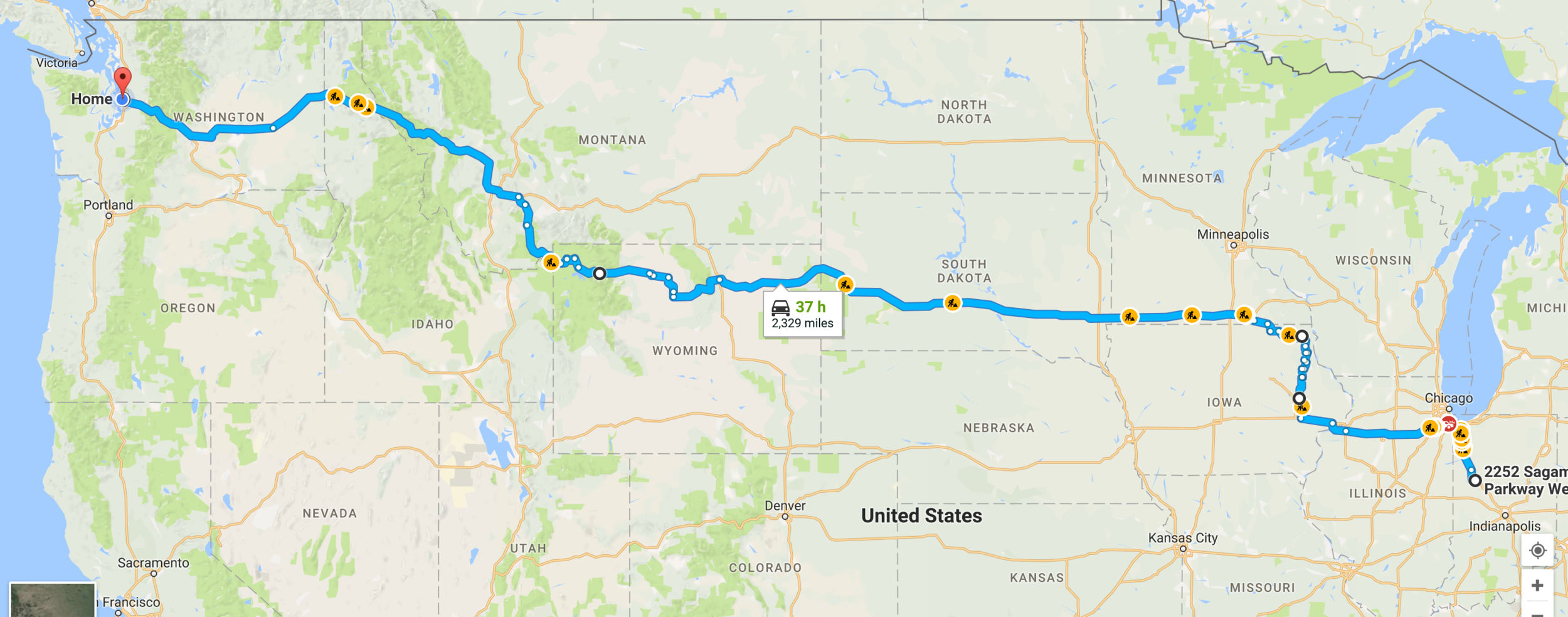 route from Indiana to Seattle, WA
